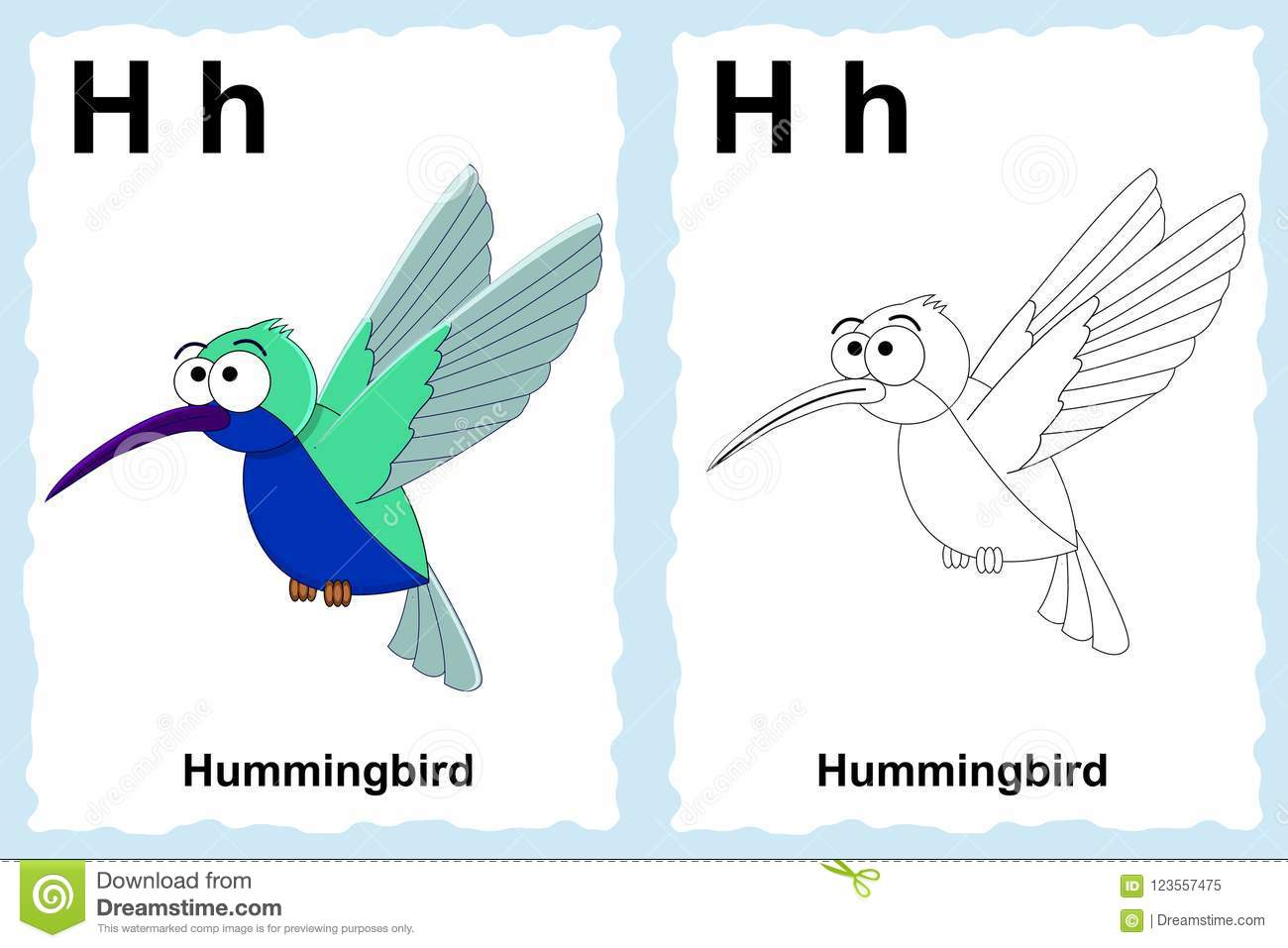 Alphabet coloring book page with outline clip art to color. Letter H. Hummingbird.
