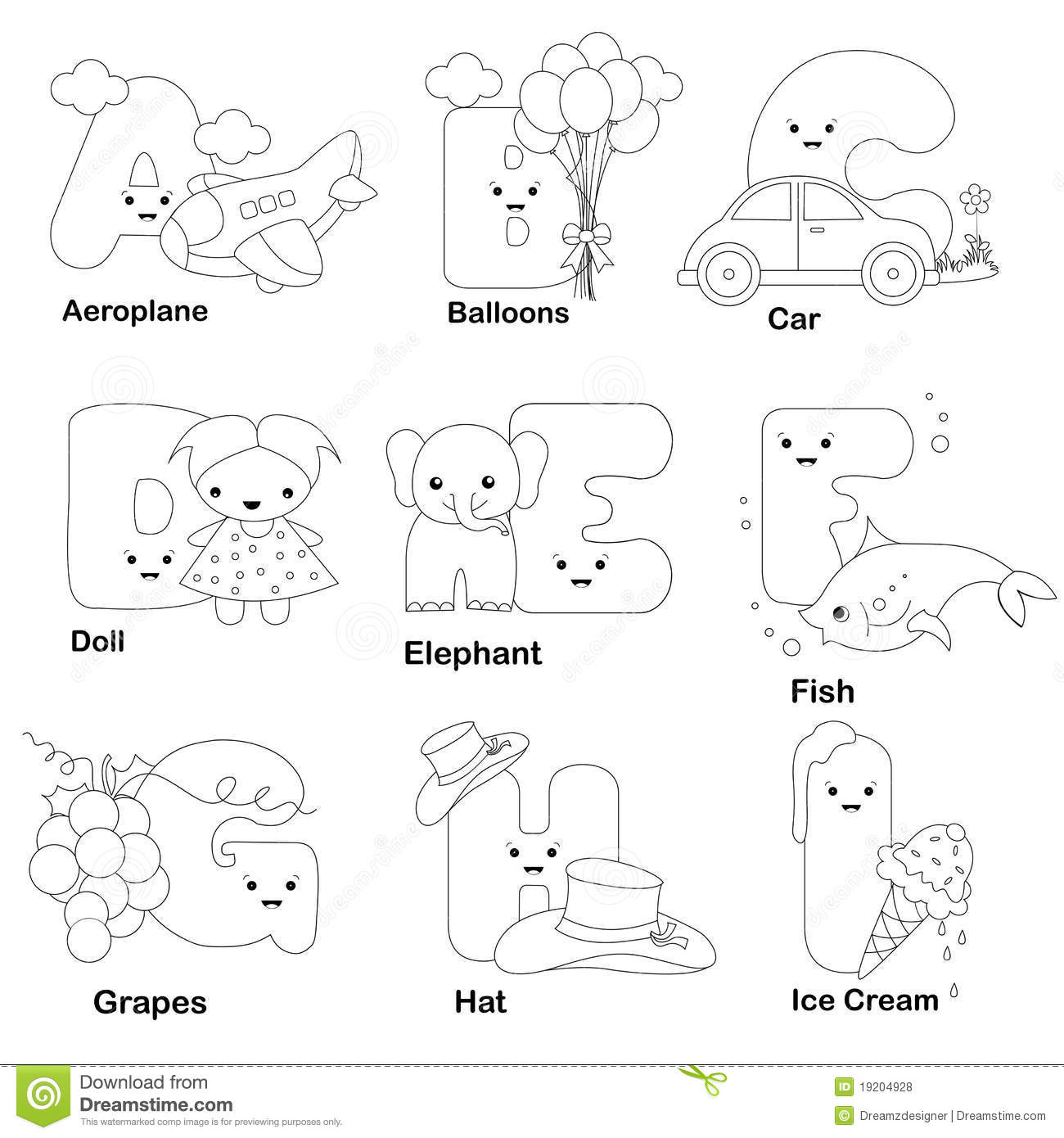 Alphabet coloring page stock vector illustration of child for Alphabet pages to color