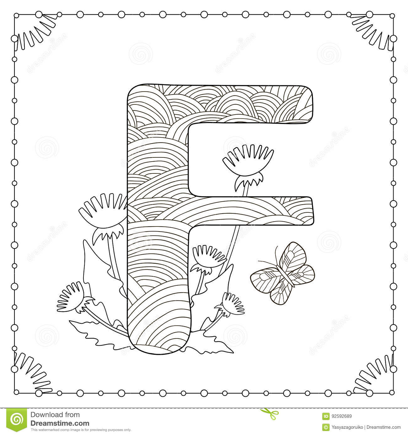 Alphabet Coloring Page Stock Vector Illustration Of Black