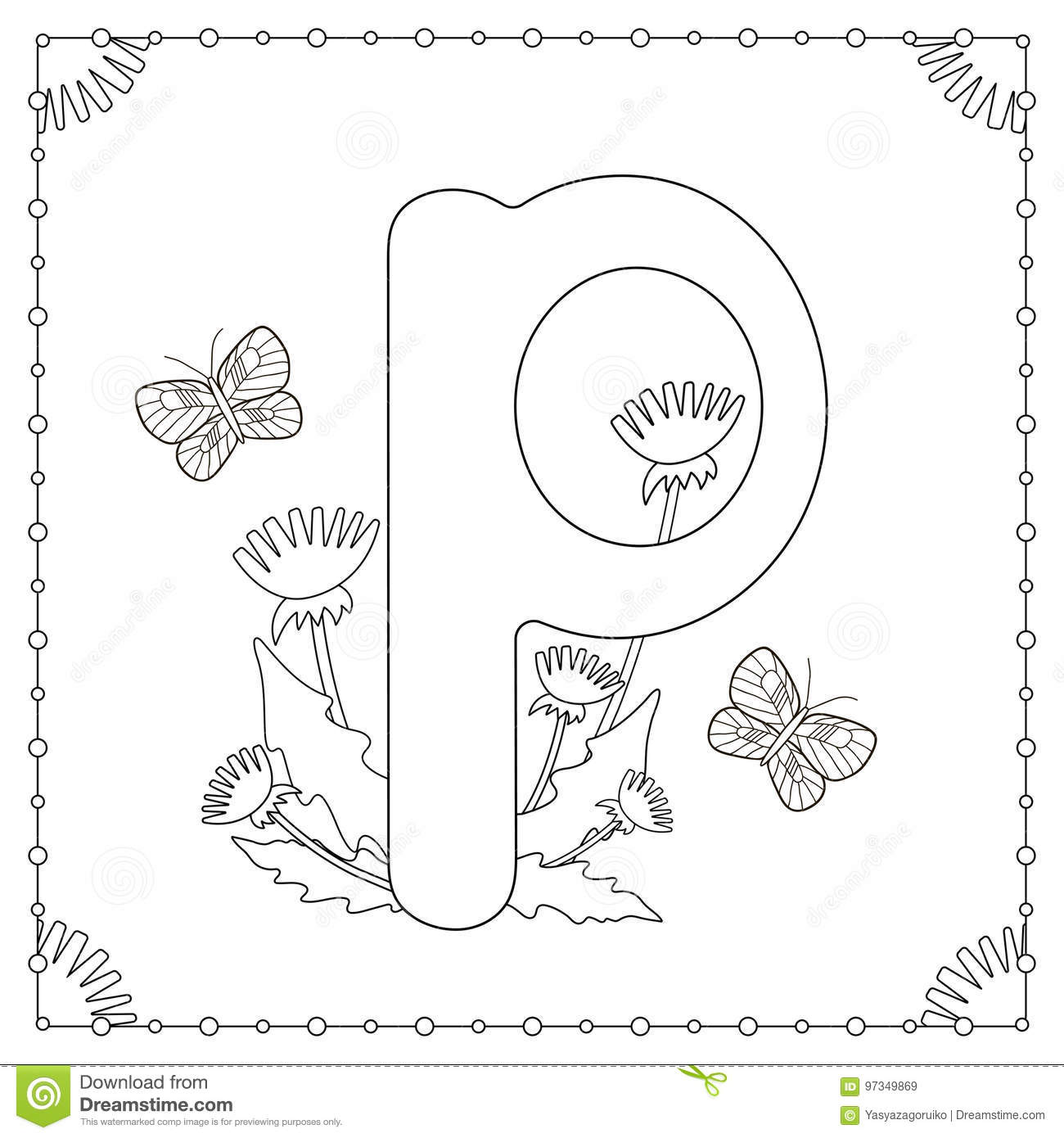 Alphabet Coloring Page Capital Letter P With Flowers Leaves And Butterflies Vector Illustration