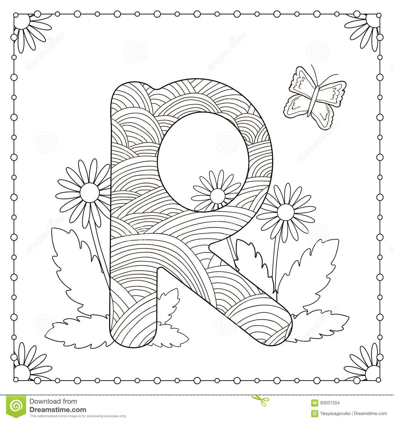 Alphabet Coloring Page Capital Letter R With Flowers Leaves And Butterfly Vector Illustration
