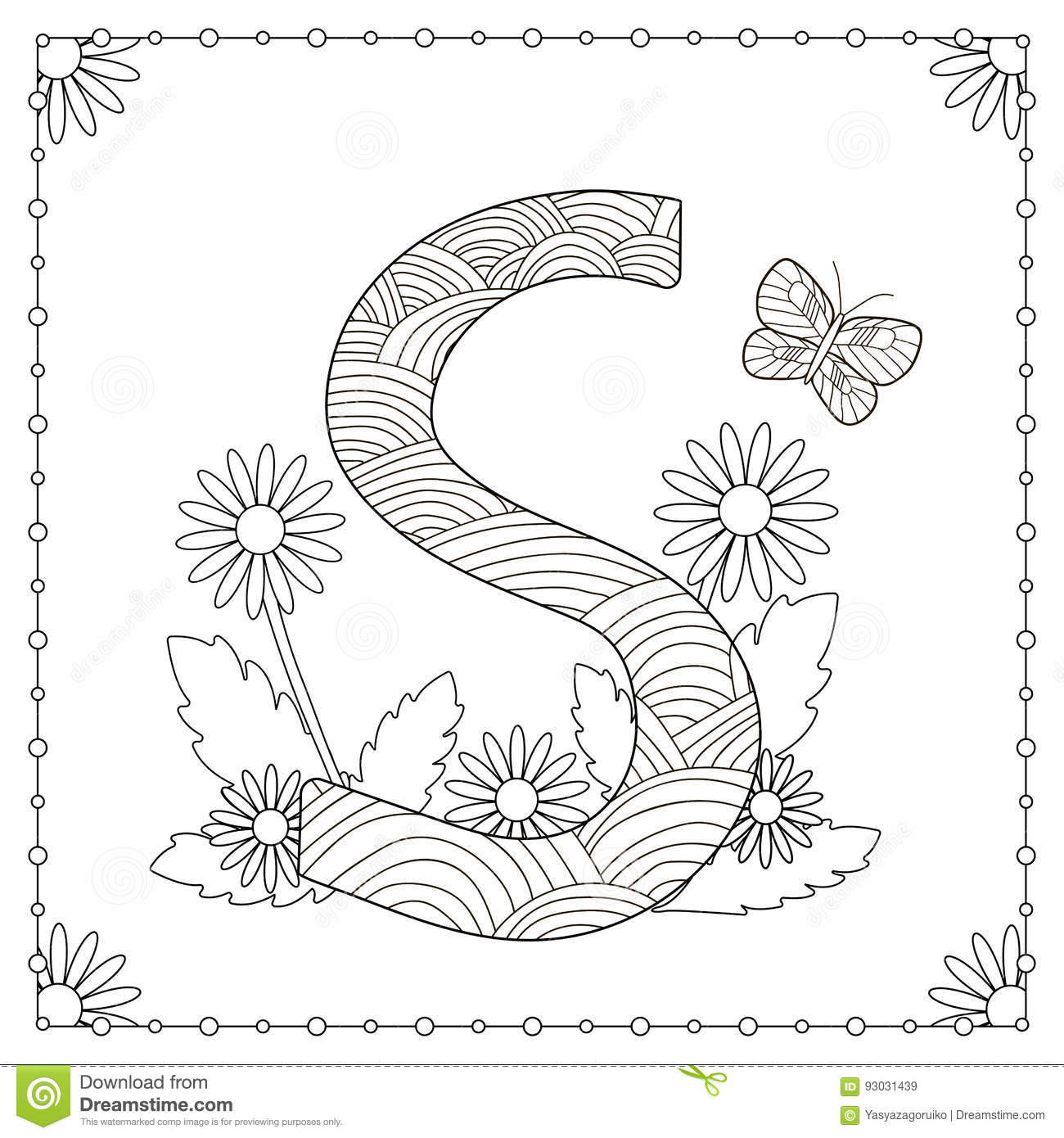 Alphabet coloring page stock illustration. Illustration of ...
