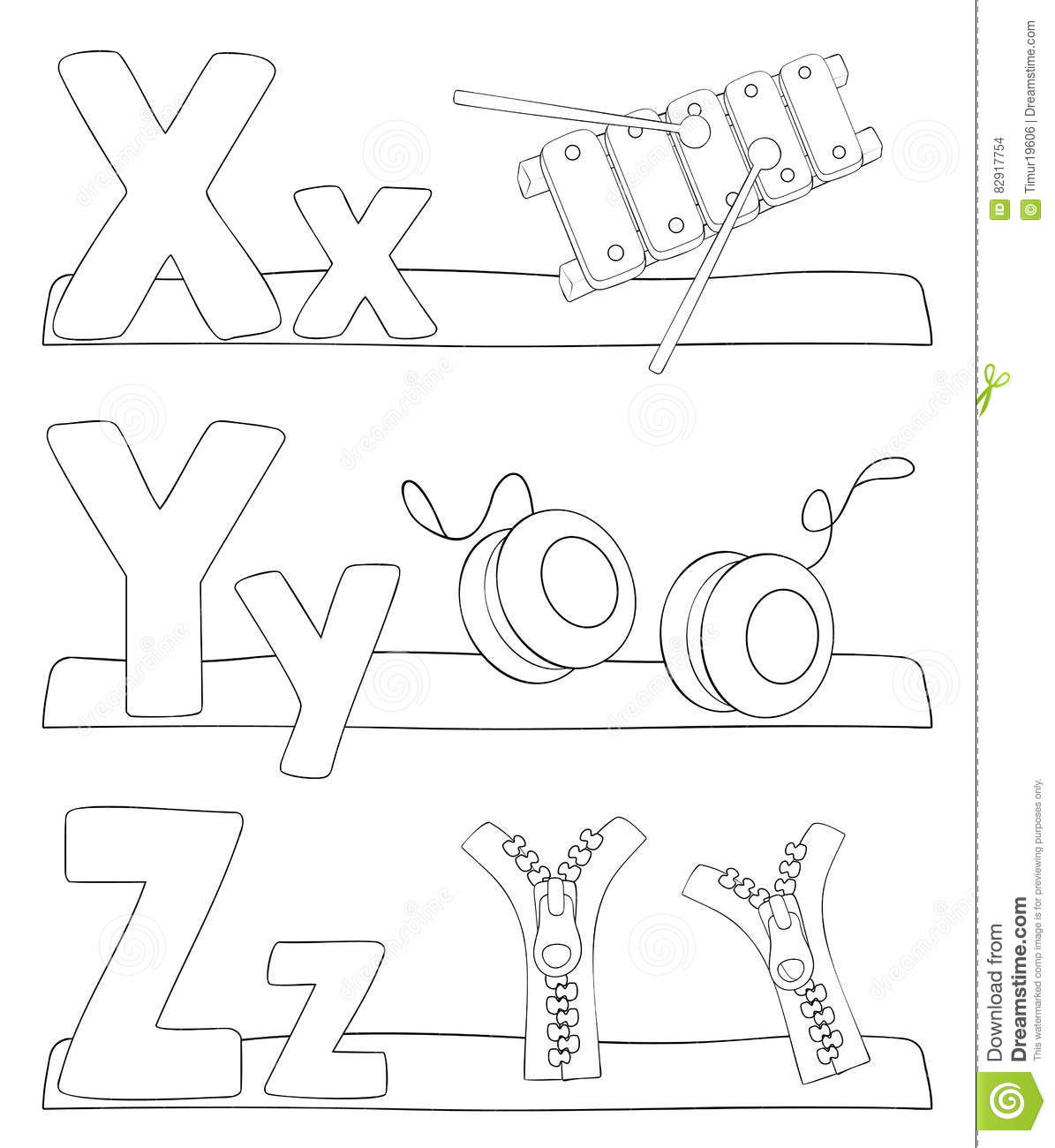 Alphabet Coloring Page Letters X Y Z Stock Vector
