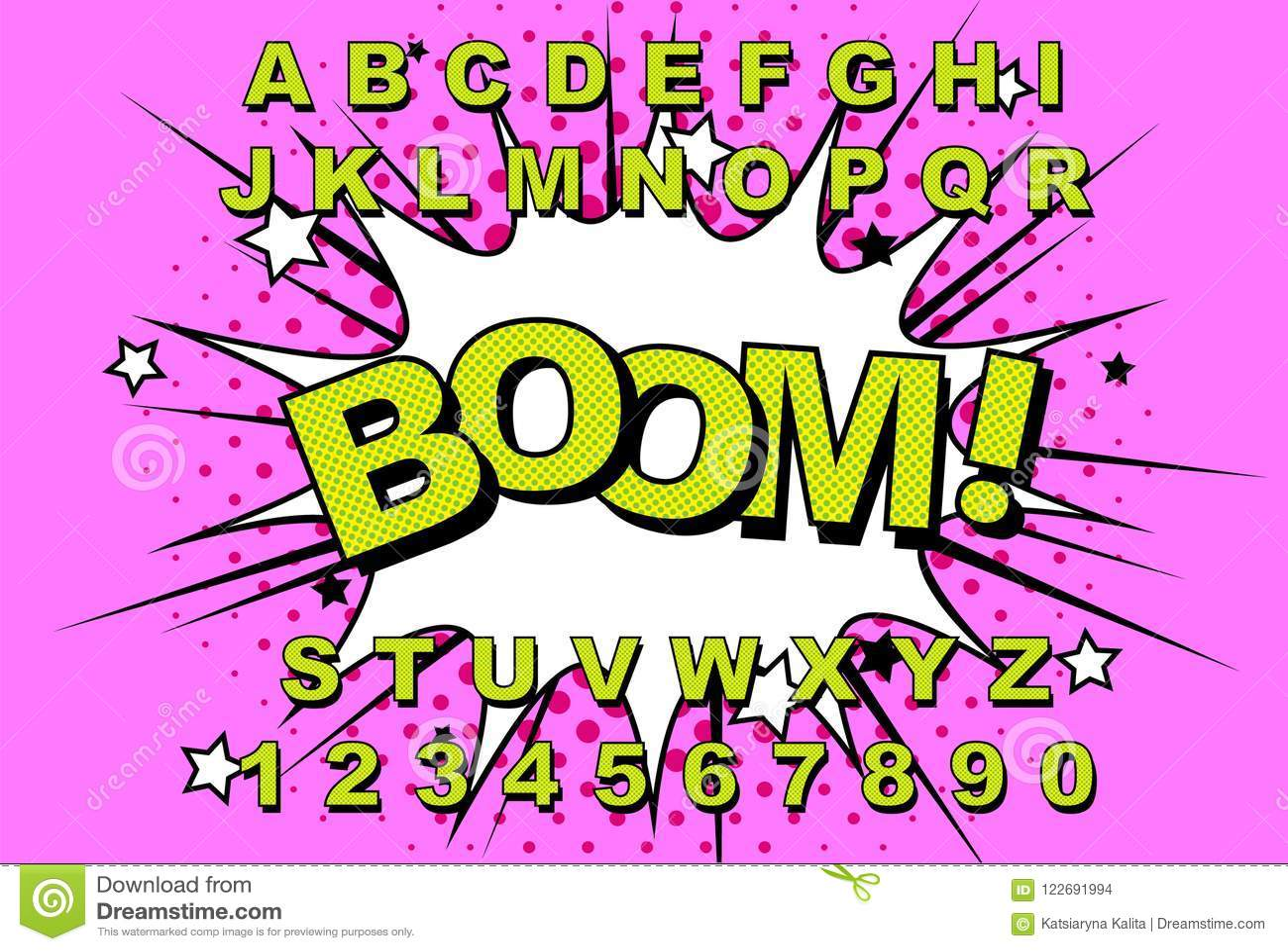 Alphabet Comic retro stock vector  Illustration of child