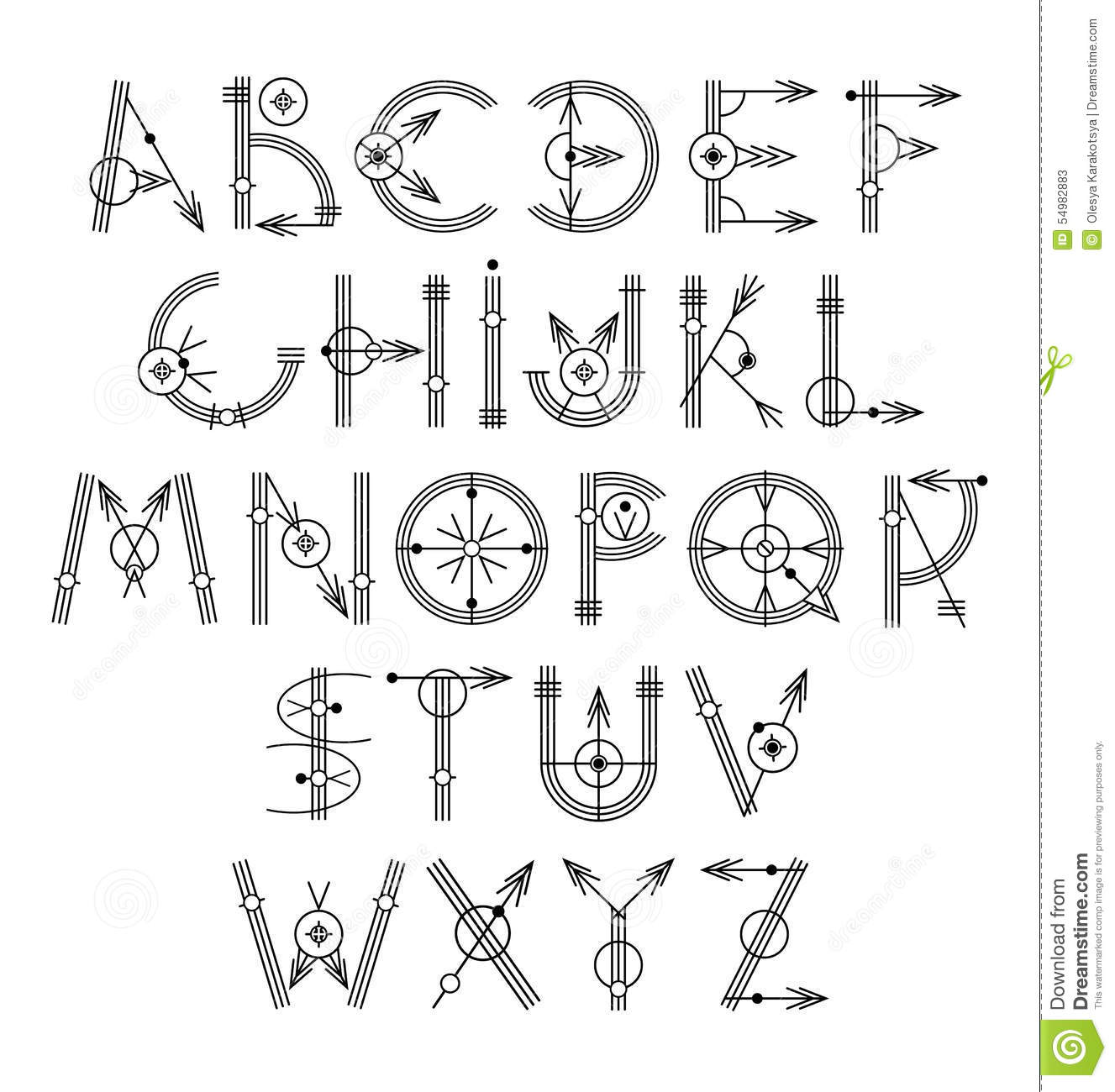 Alphabet cr atif unique original de noir de hippie illustration de vecteur image 54982883 - Lettre alphabet original ...