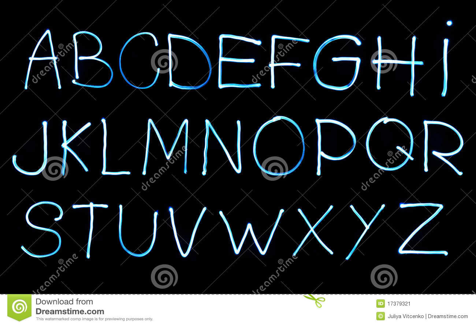Alphabet created with light