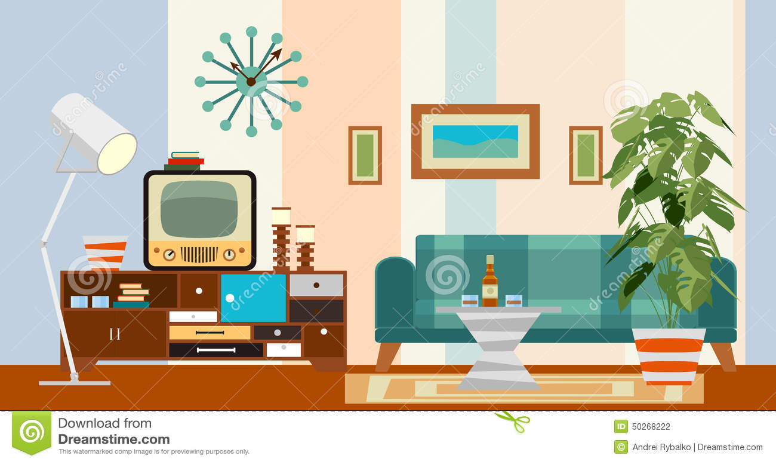 retro living room stock vector image 50268222