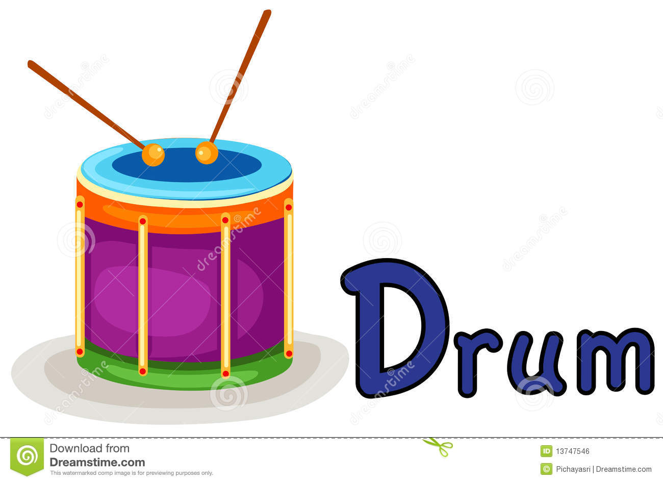 Illustration of isolated alphabet D for drum on white background.