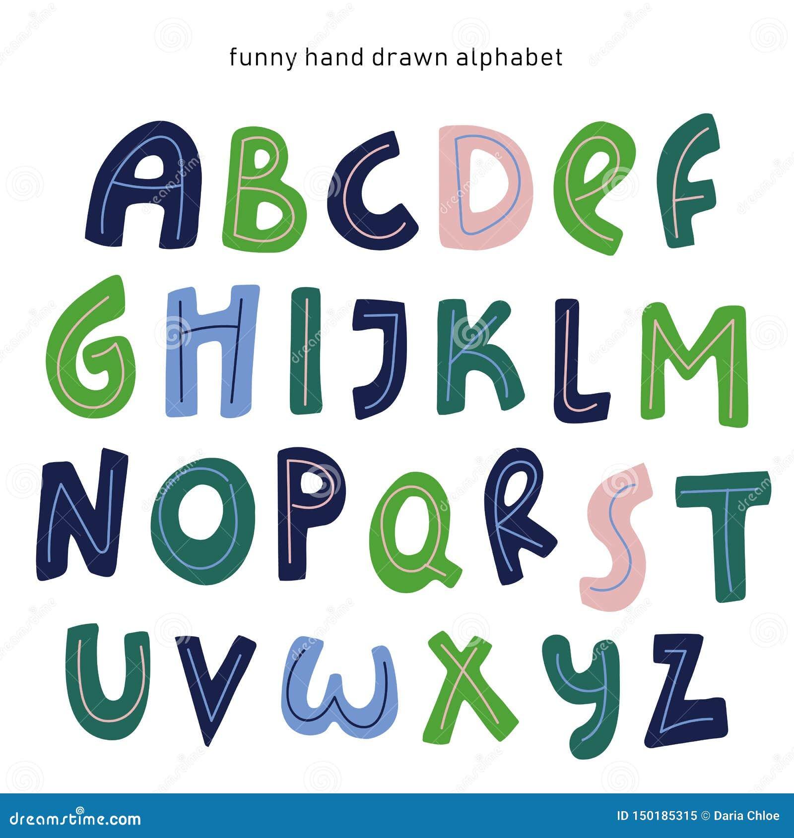 Alphabet de bande dessin?e de vecteur sur le fond blanc