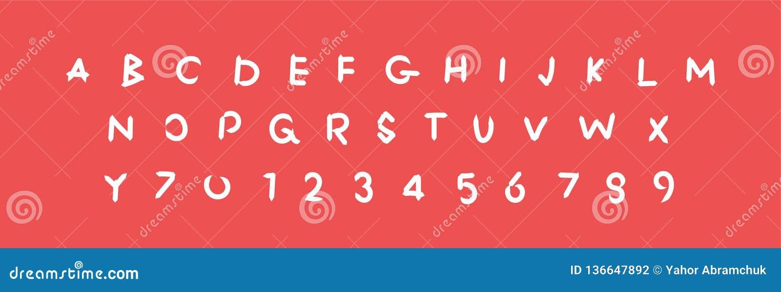 Alphabet de fantaisie, lettres de symbole, police d illustration d ABC de vecteur de lettre, signe