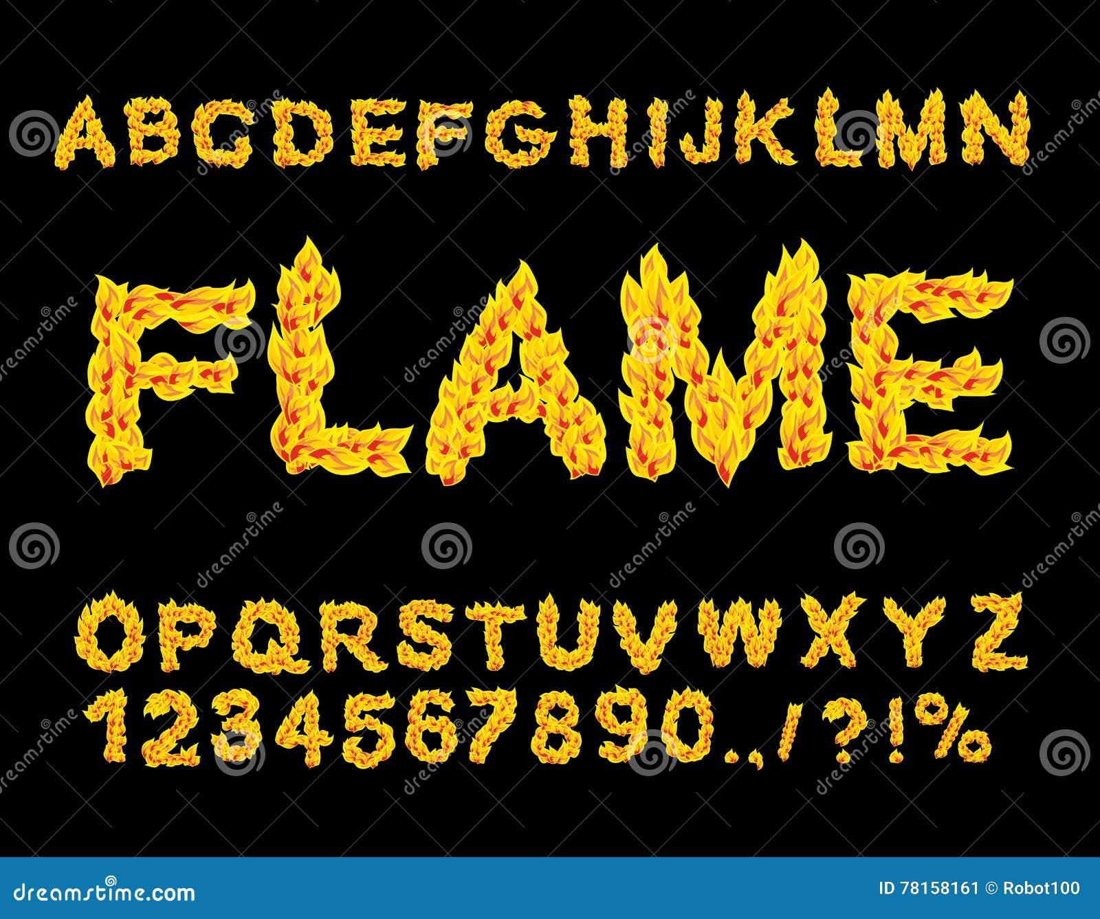 Alphabet de flamme Police du feu Lettres ardentes ABC brûlant