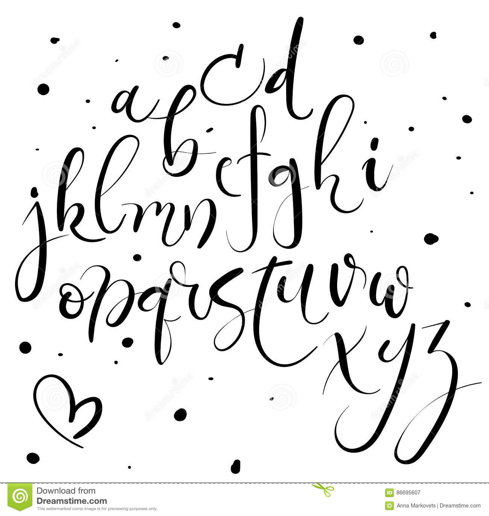 Alphabet Calligraphie Gratuit alphabet de lettrage de main lettres tirées par la main police