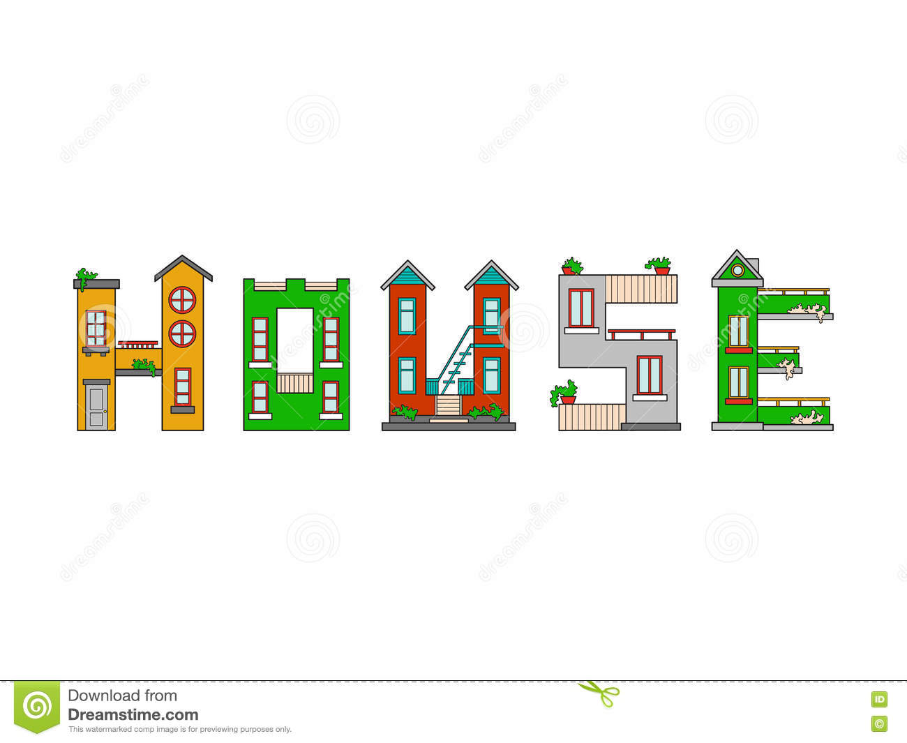 Alphabet de lettre de maison d 39 illustration illustration stock image 70749205 - Maison en 5 lettres ...
