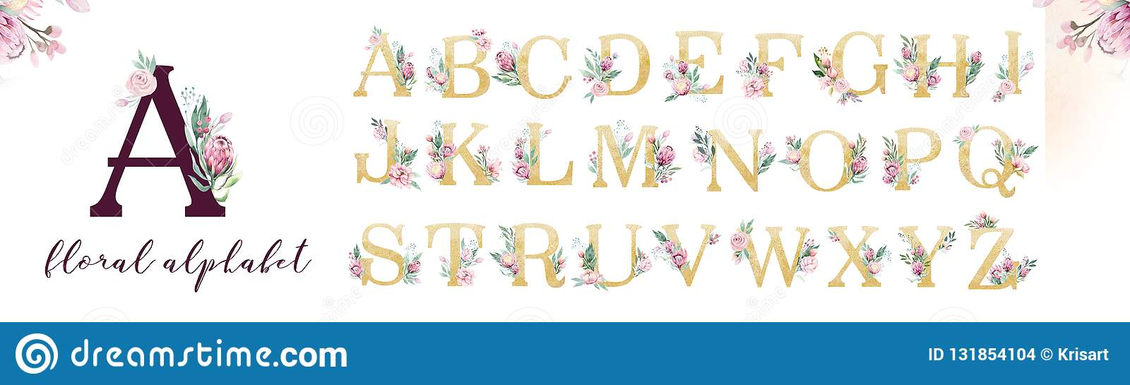 Alphabet de lettre de scintillement d or Polices alphabétiques d or d isolement et nombres sur le fond blanc Texte l épousant flo
