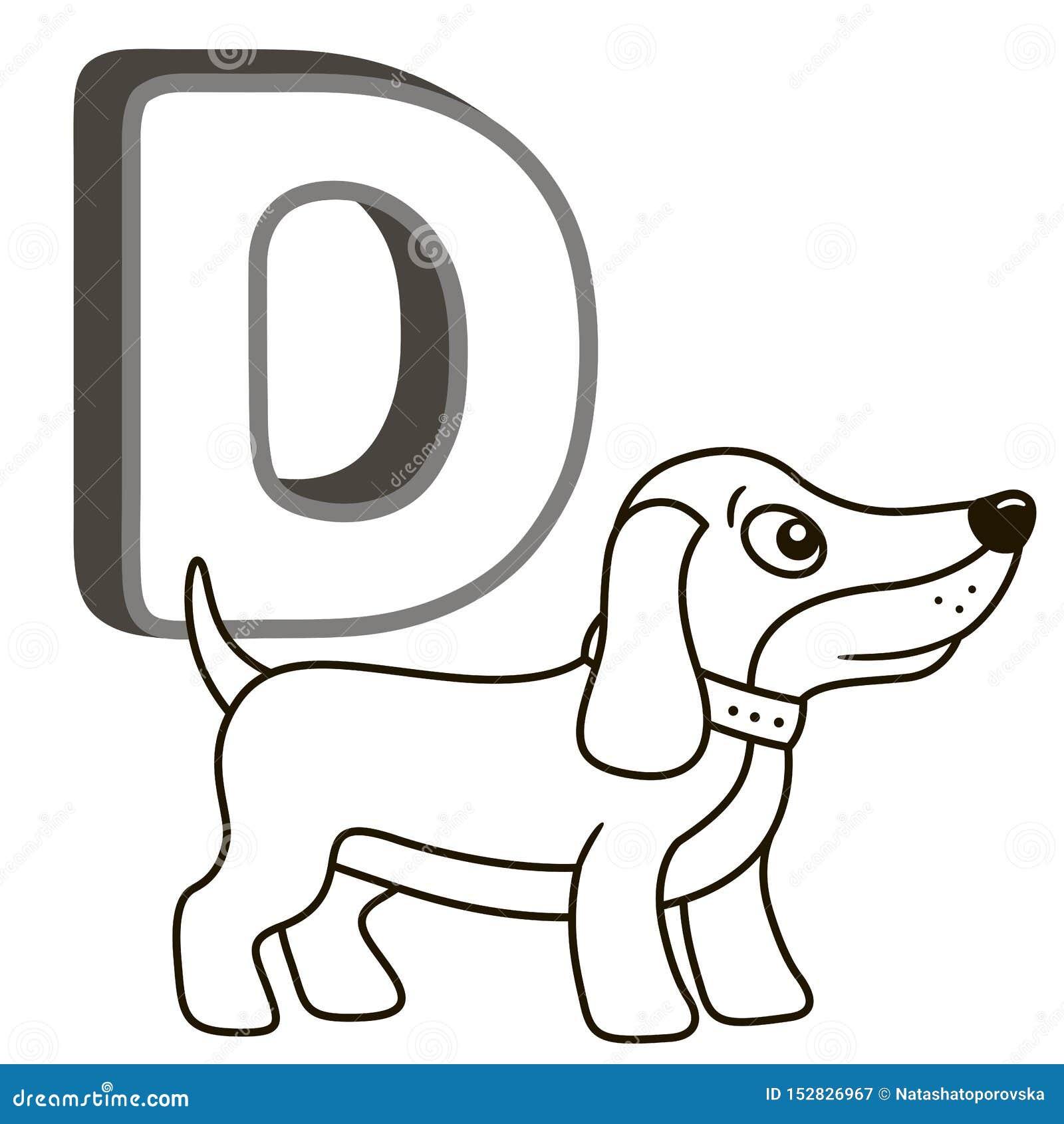 Alphabet de livre de coloriage de vecteur avec les majuscules des animaux et des choses anglais et mignons de bande dessinée Page