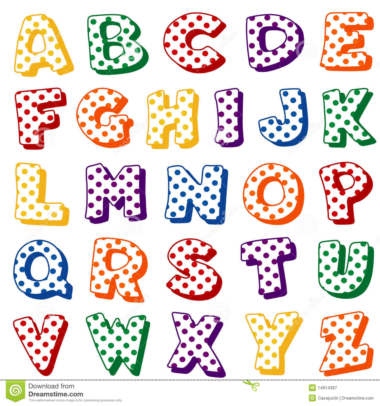 Alphabet de point de polka