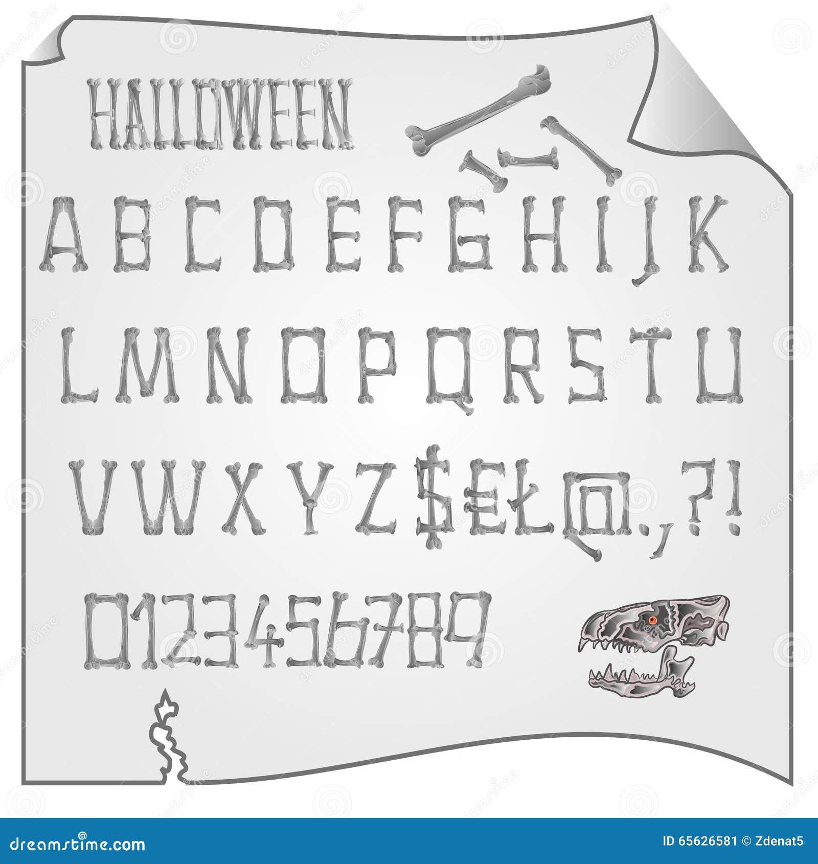 Alphabet de vecteur de Halloween d os