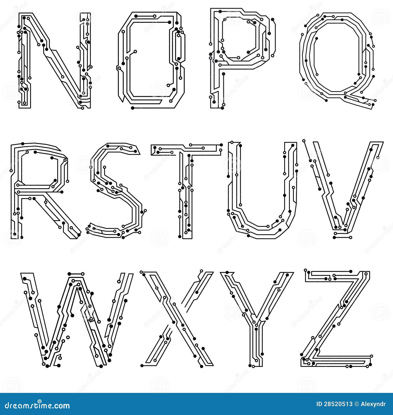 alphabet der leiterplatten vektor abbildung  bild von