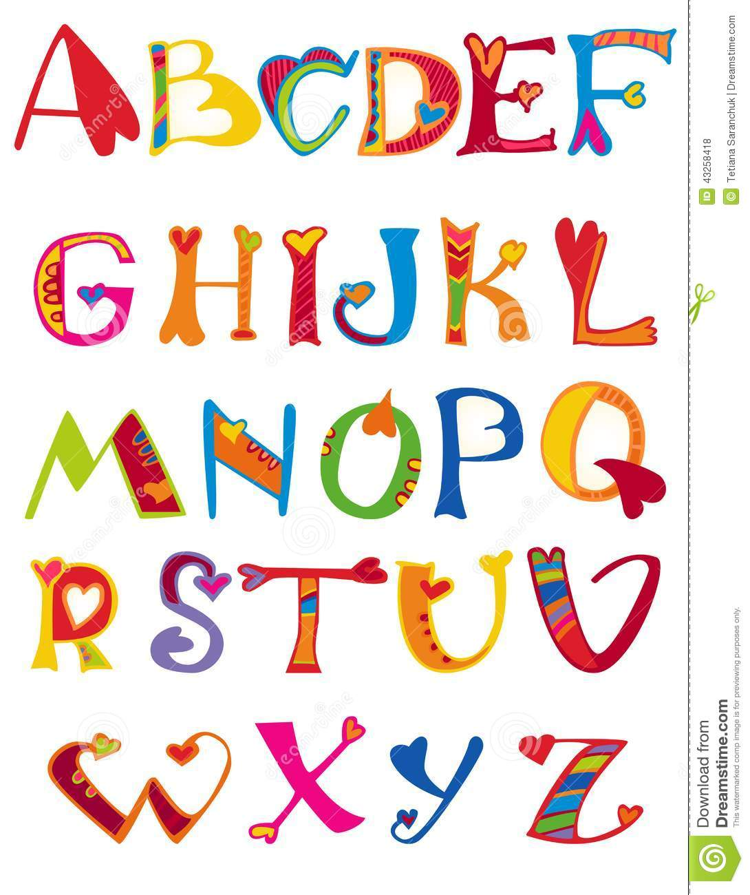 Alphabet Design In A Colorful Style. Stock Vector - Image: 43258418