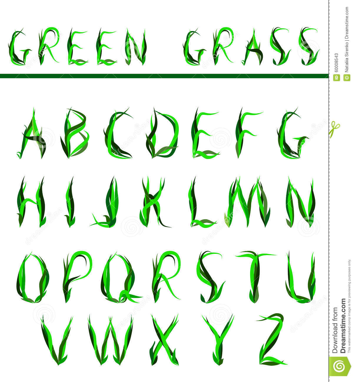 Alphabet Draw Letters Of Green Grass Stock Illustration