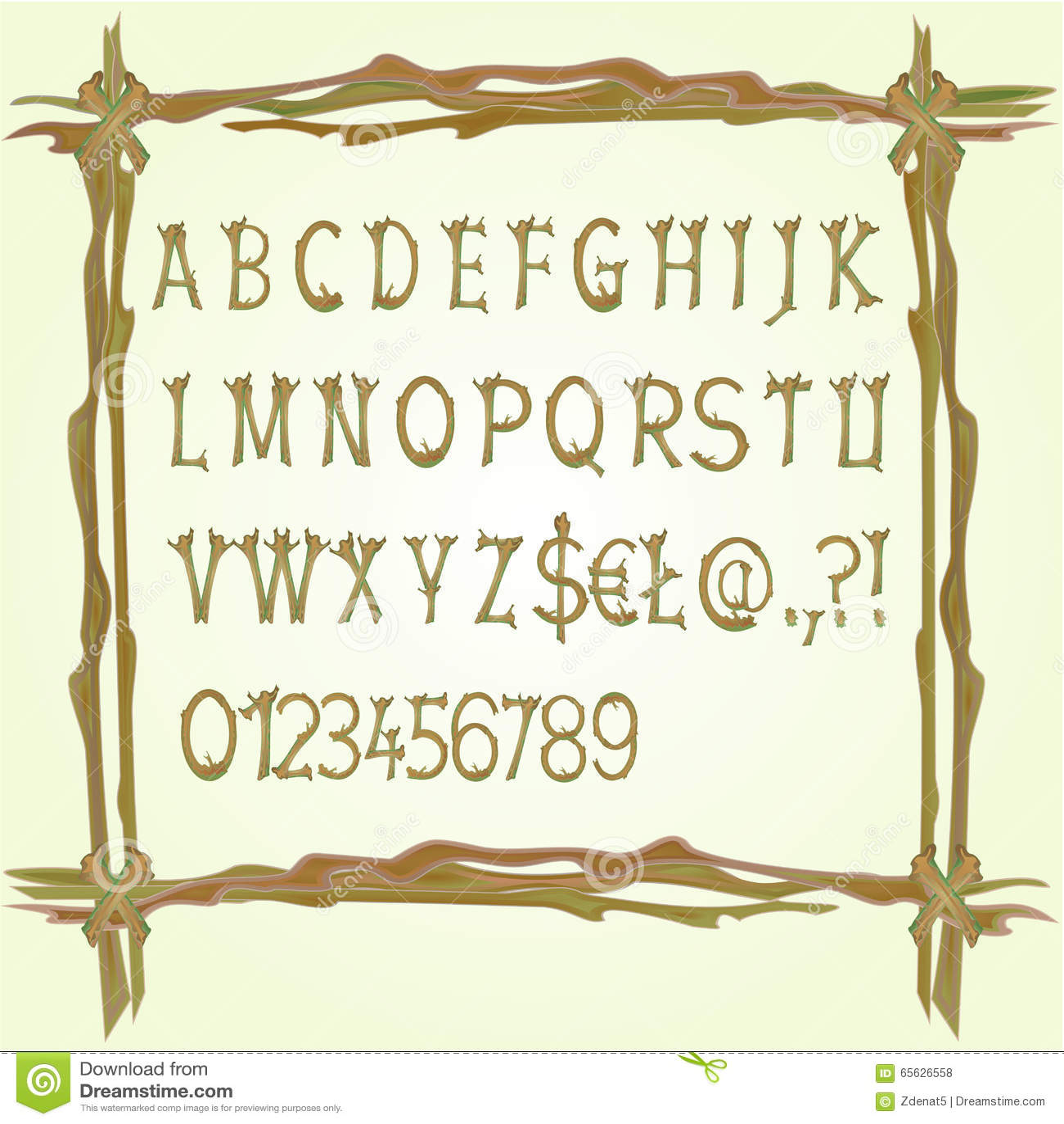 Alphabet fait en vecteur de brindilles
