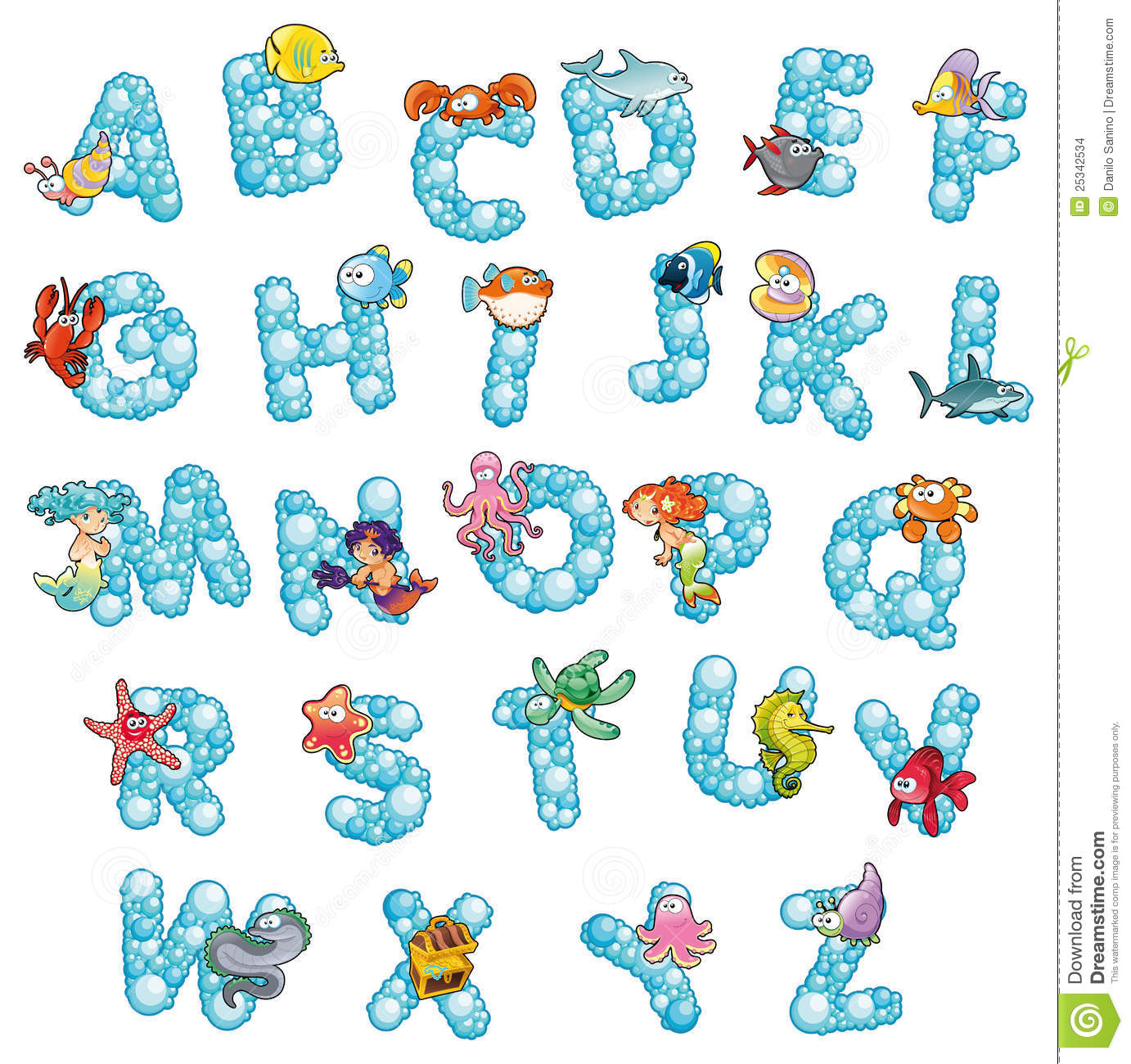 Alphabet With Fish And Bubbles. Stock Vector - Image: 25342534