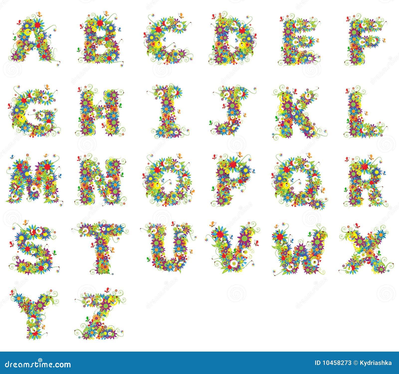 Alphabet, floral design stock illustration  Illustration of