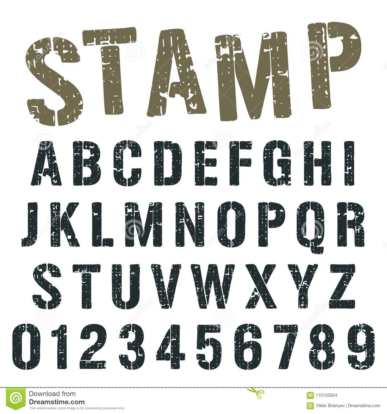 Alphabet font template vintage letters and numbers stamp army design vector illustration