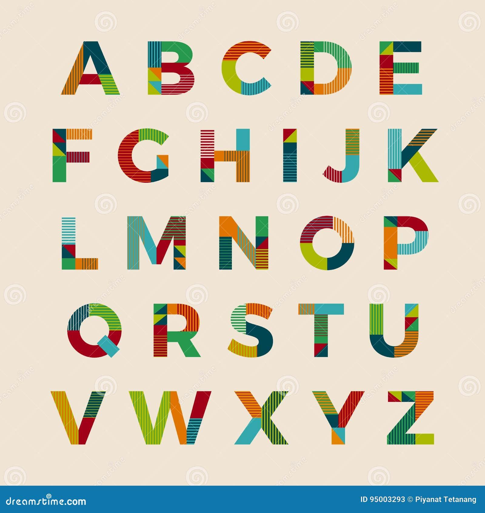 Alphabet Font Typeset Vector Design Stock Vector
