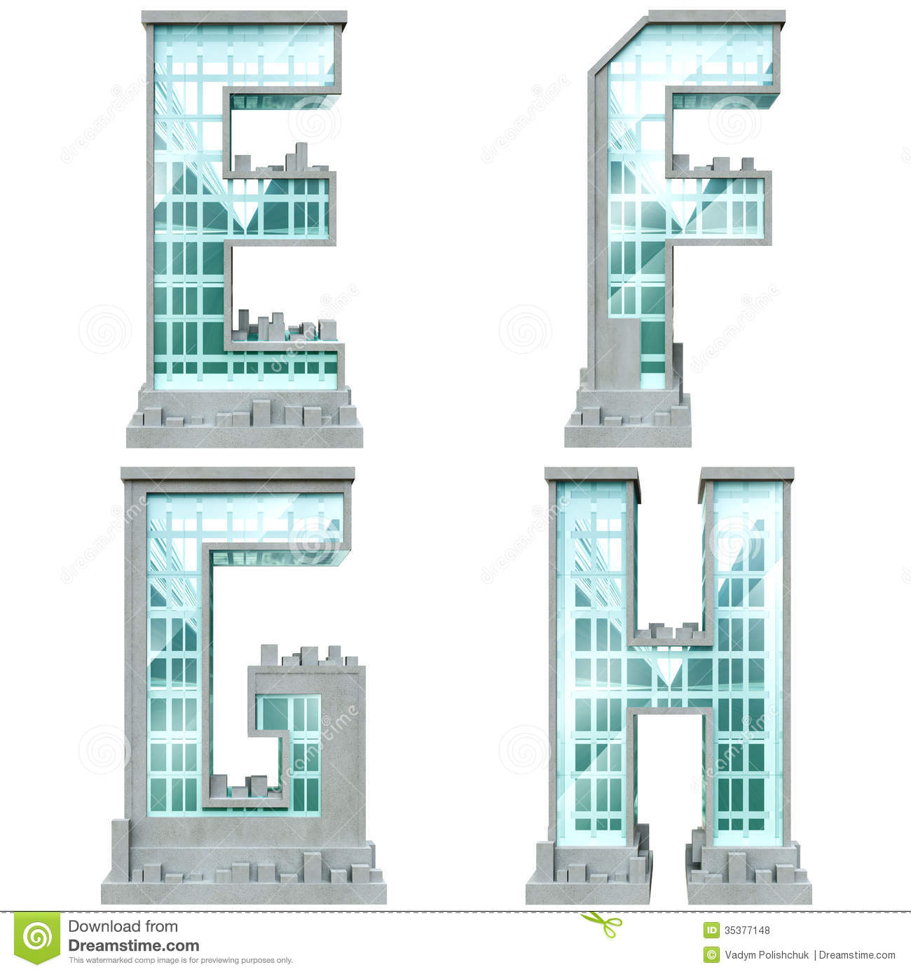 Alphabet in the form of urban buildings stock for Building letters