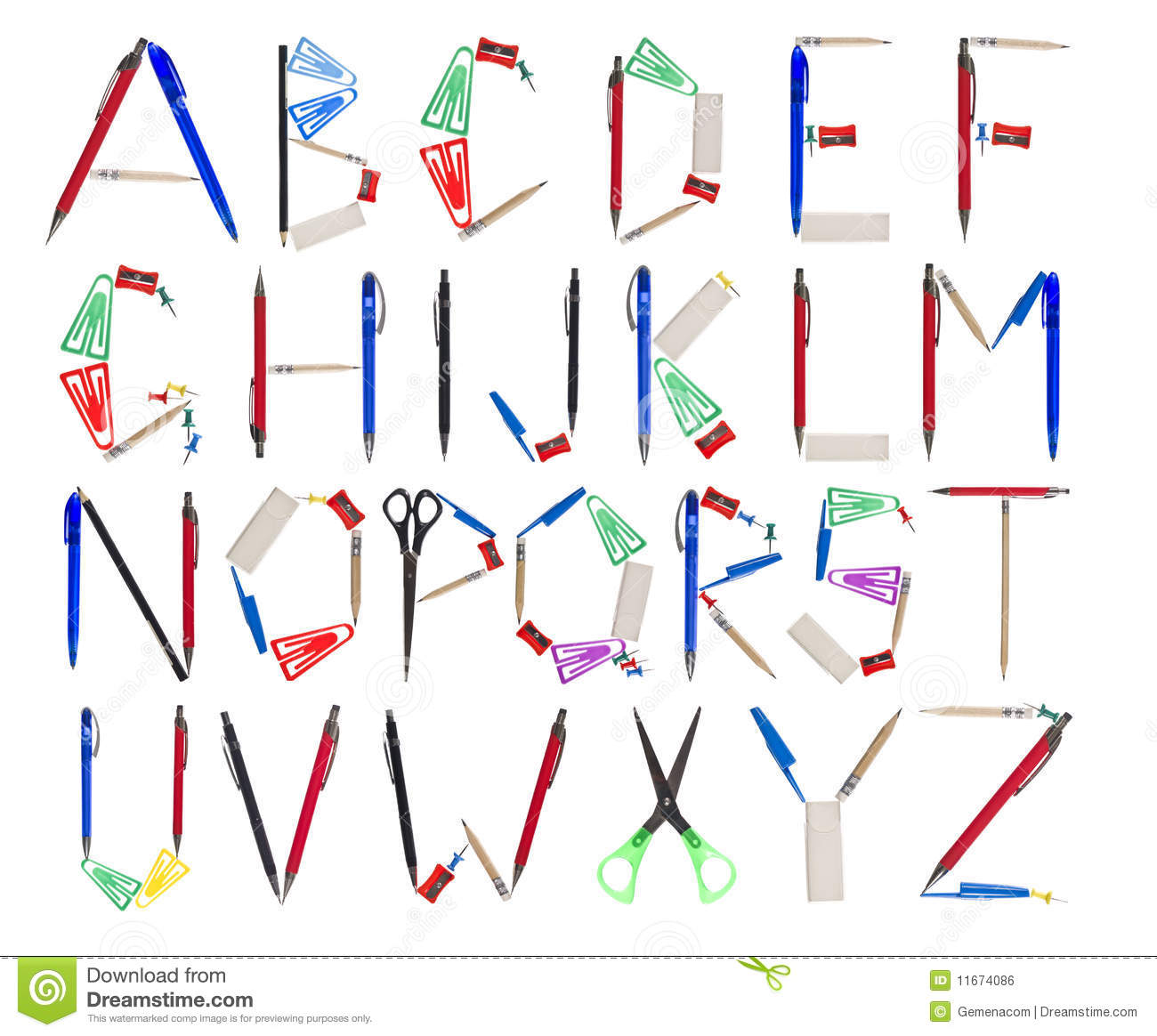 the alphabet formed by office supplies royalty free stock free clipart images office supplies Microsoft Office Free Clip Art