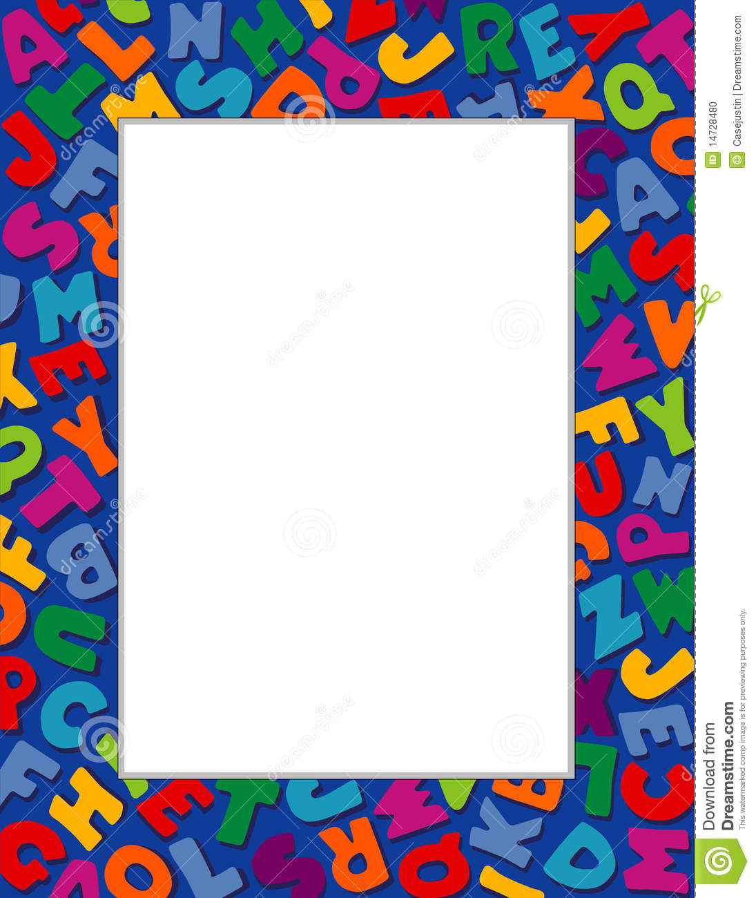Alphabet Frame Blue Background Stock Photo Image 14728480