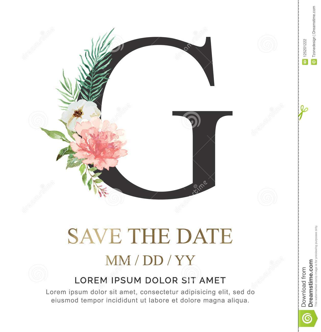 Letter G Hand Paint Watercolor Flower And Leaf For Wedding And