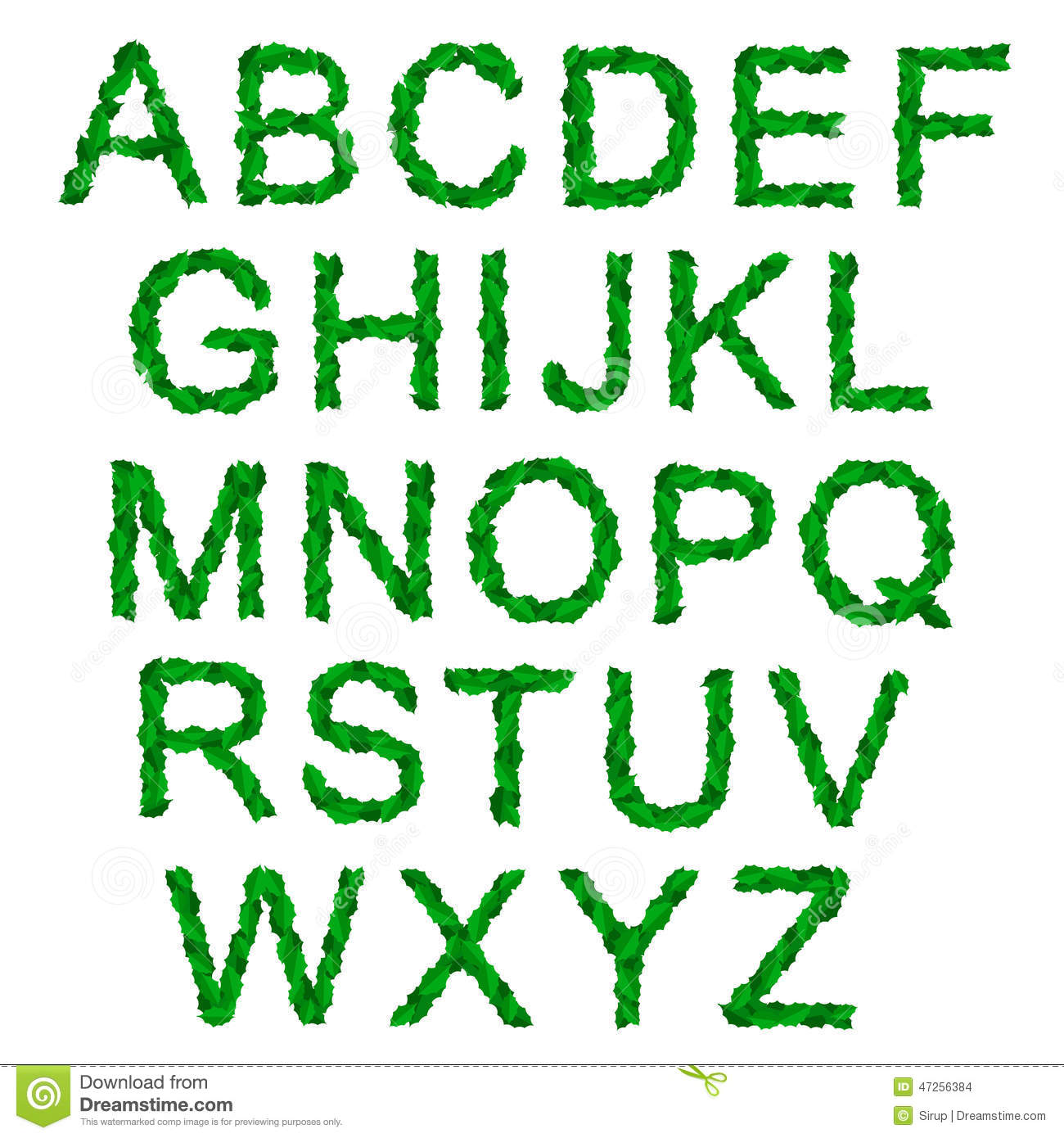 Alphabet With Green Holy Leaves For Christmas Stock Vector