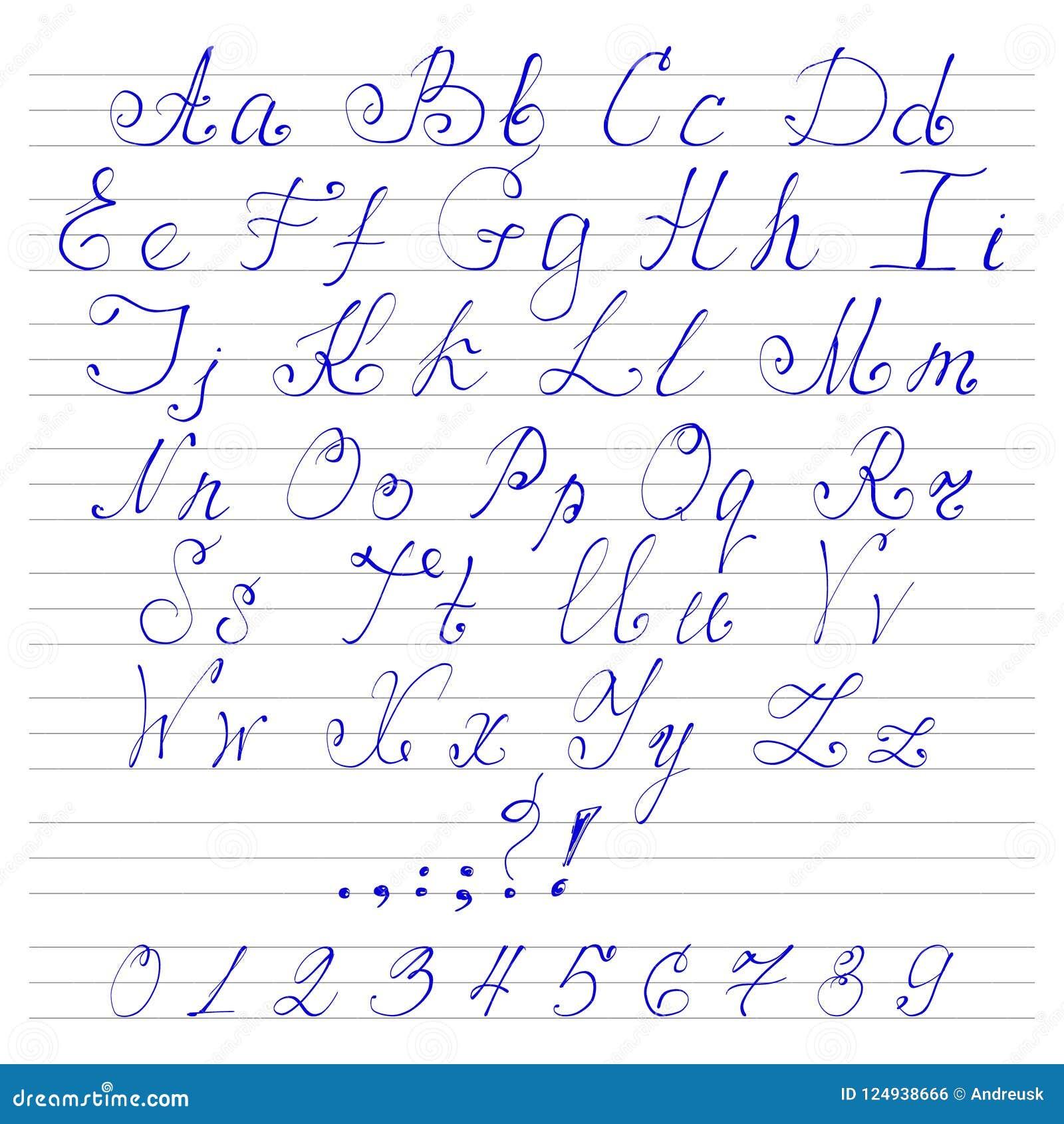 Alphabet handwriting fonts stock vector  Illustration of handwriting
