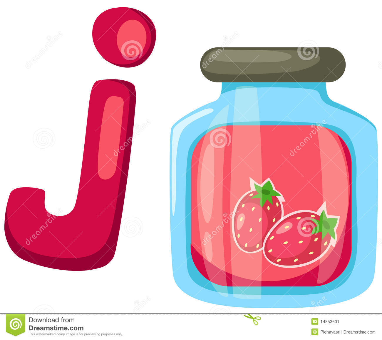 Alphabet J for jam stock vector. Image of education, clip ...