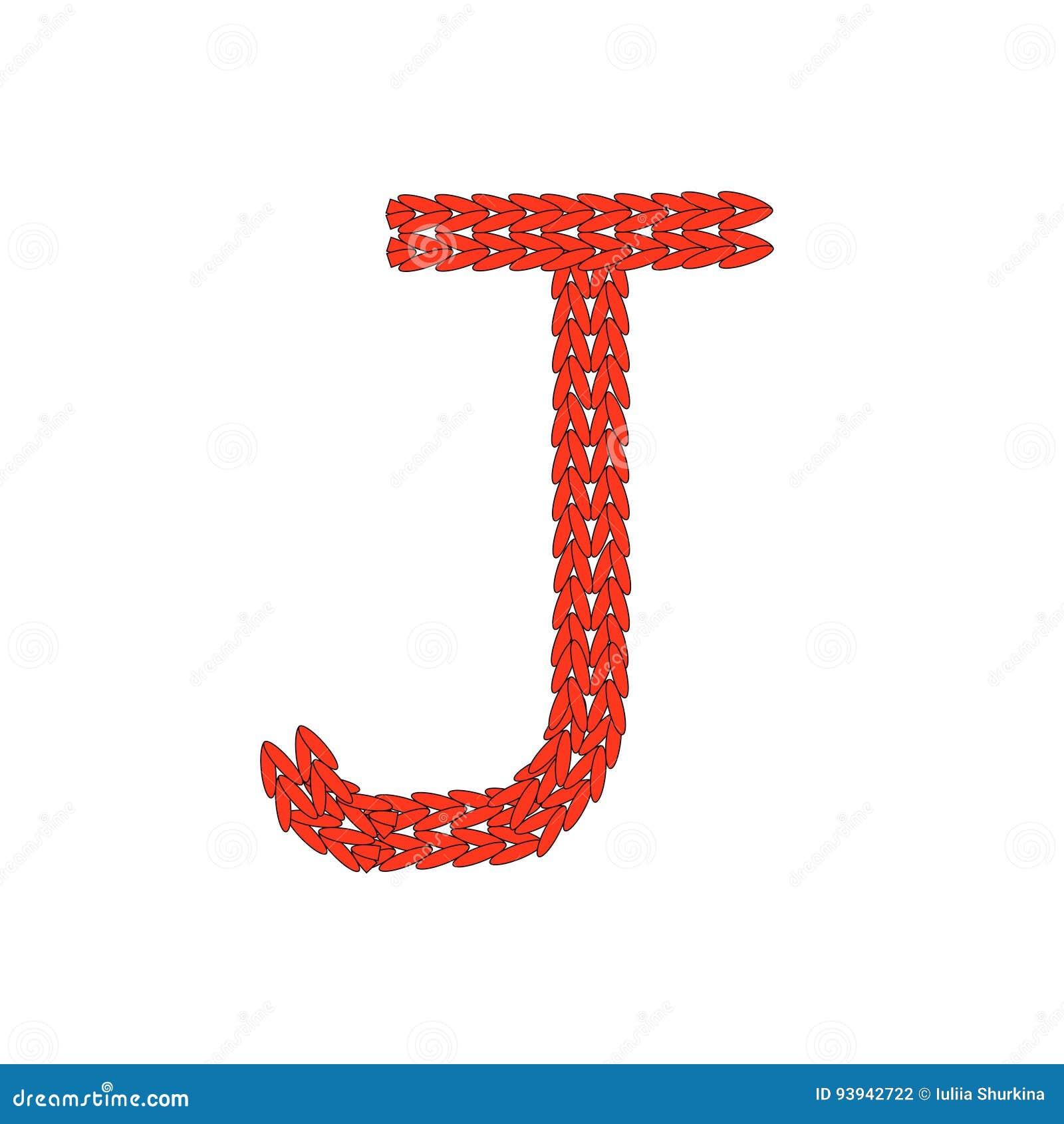 Alphabet Knitted Red Letter On White Background Vector Illustration