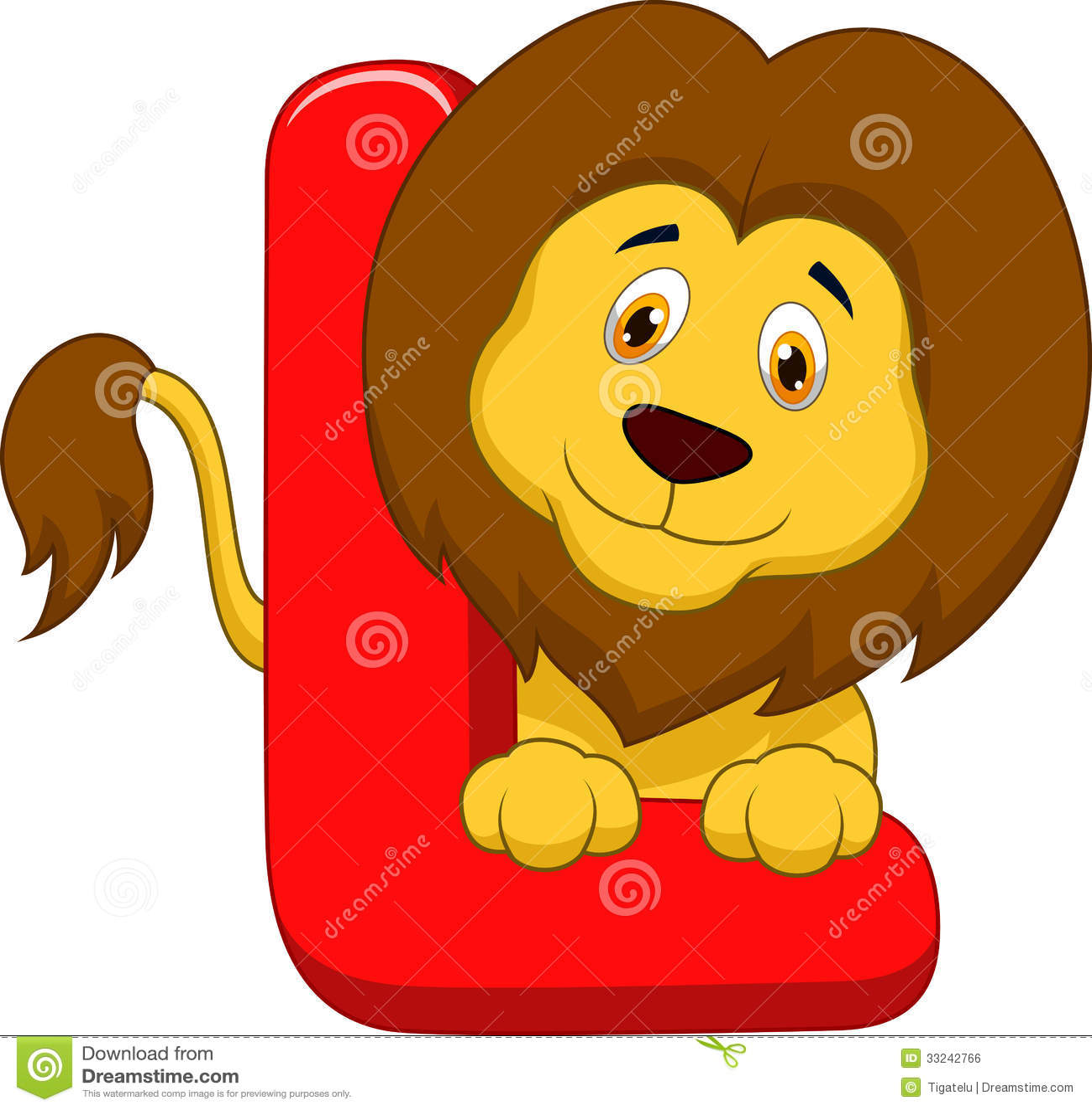 Alphabet L With Lion Cartoon Stock Vector
