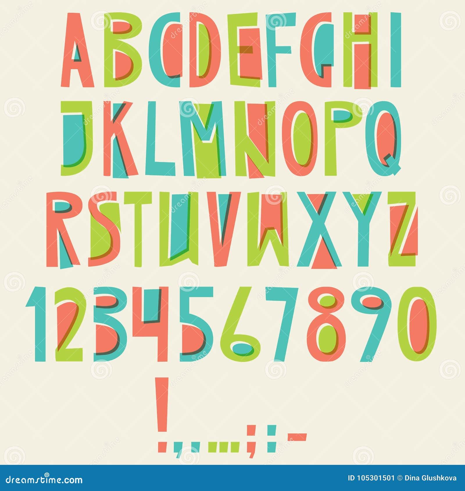 Alphabet latin anglais de vecteur Lettres, nombres, symboles Isolat