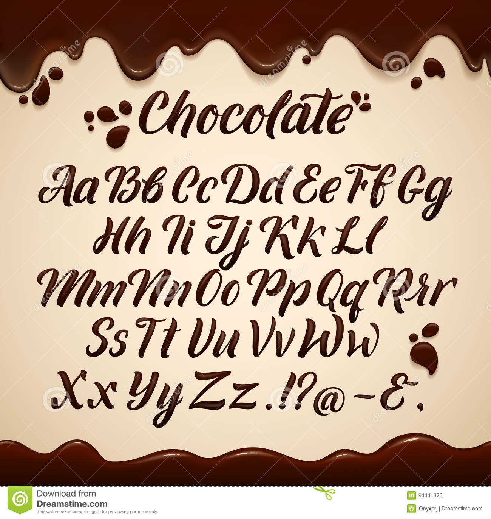 Alphabet latin dans le style liquide Main écrivant les lettres brunes de chocolat vecteur prêt d image d illustrations de télécha