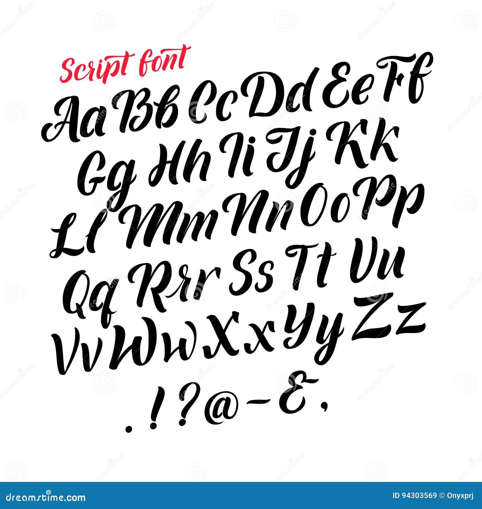 Alphabet latin manuscrit Lettres noires cursives Isolat de polices de vecteur sur le fond blanc