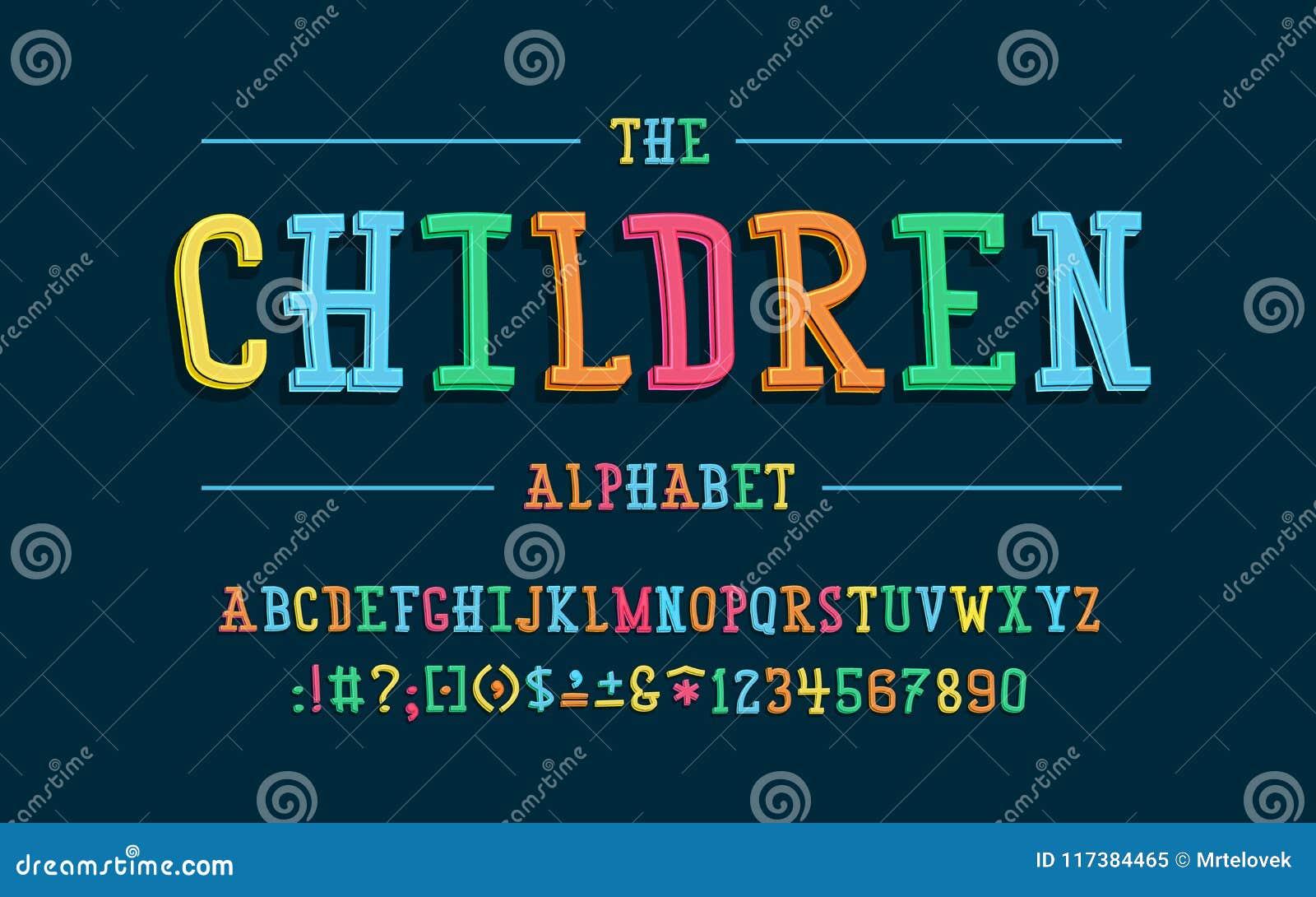 Alphabet latin Police d enfants dans le style mignon de la bande dessinée 3d