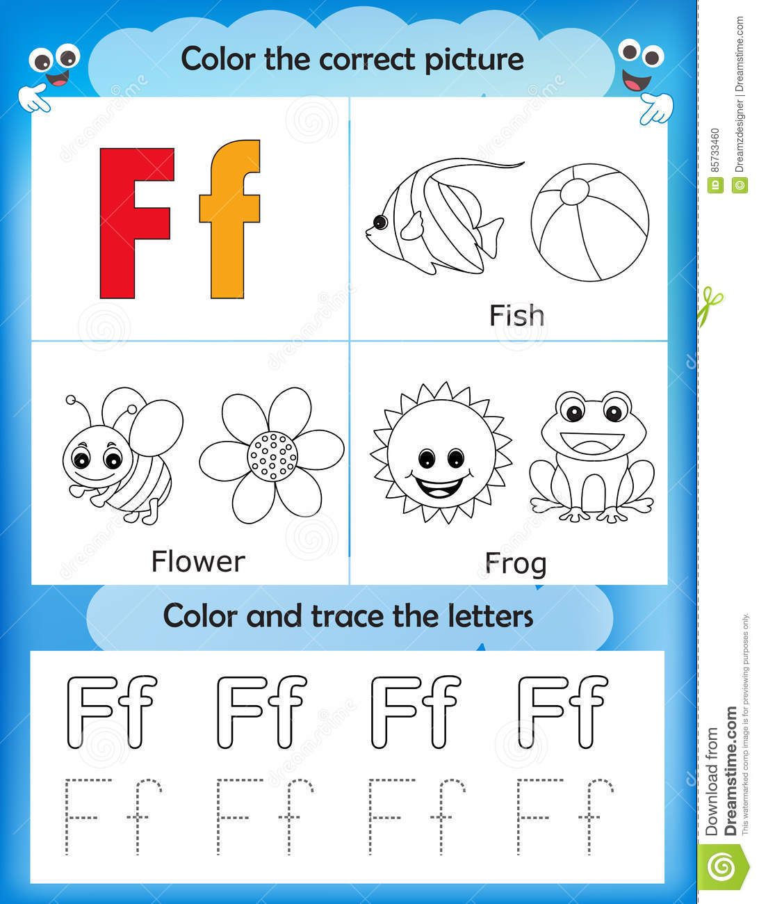 Alphabet Learning And Color Letter F Stock Illustration Illustration Of Flower Tracing 85733460