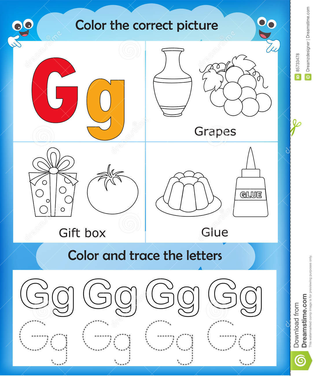 Download Alphabet Learning And Color Letter G Stock Illustration