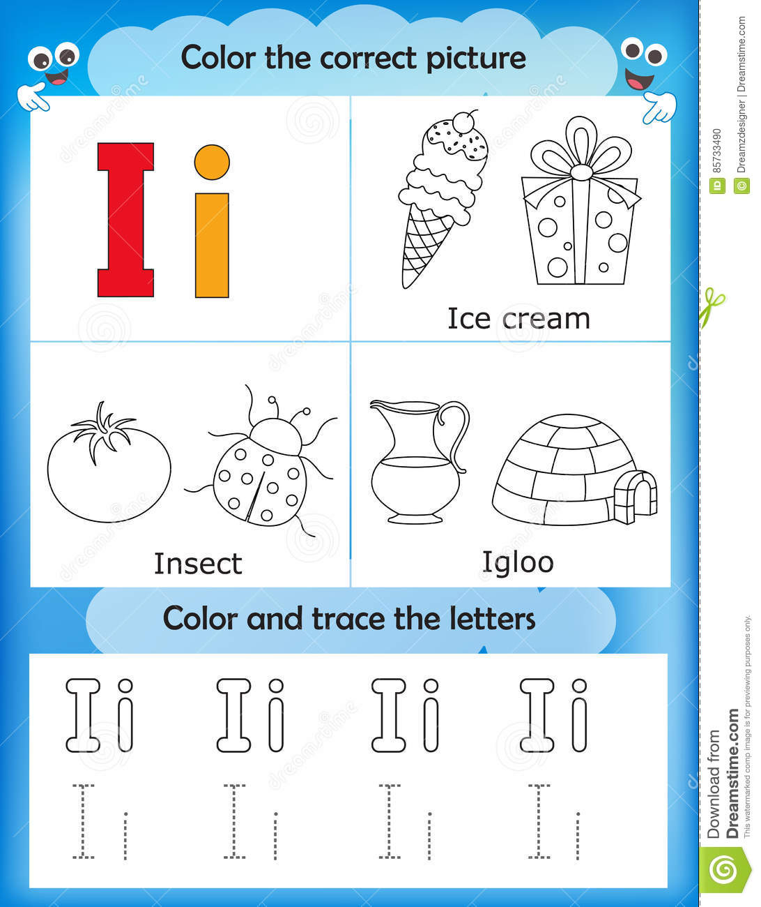 Alphabet Learning And Color Letter I Stock Illustration ...