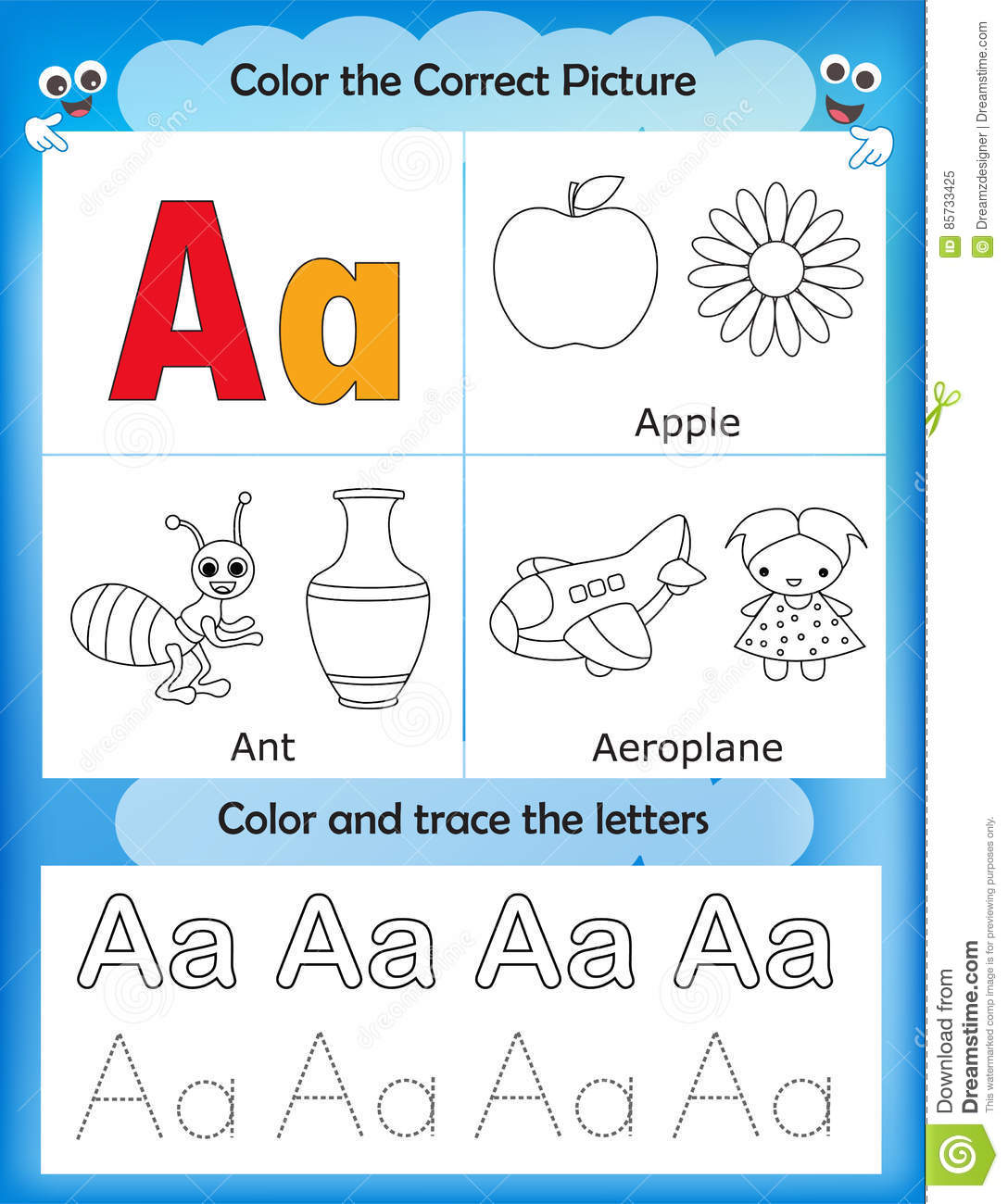 Alphabet Learning And Color Letter A Stock Illustration ...