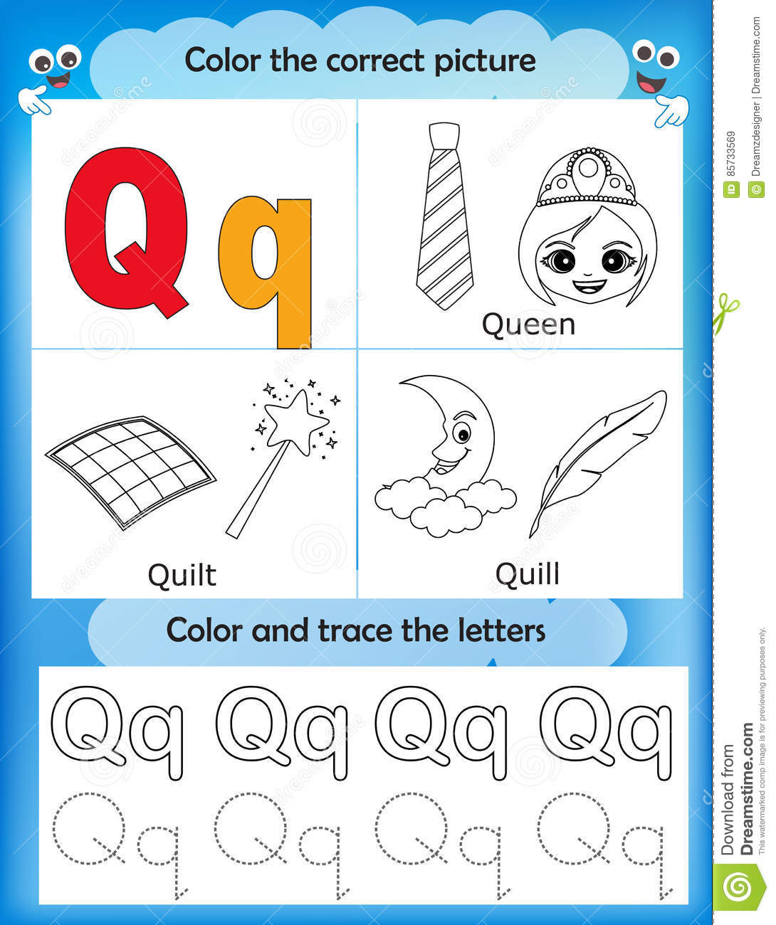 picture relating to Letter Q Printable called Alphabet Studying And Shade Letter Q Inventory Example