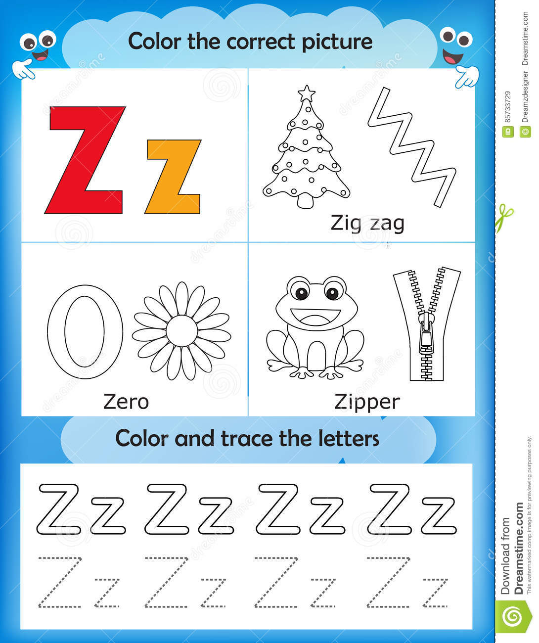 Download Alphabet Learning And Color Letter Z Stock Illustration    Illustration Of Kindergarten, Cute: