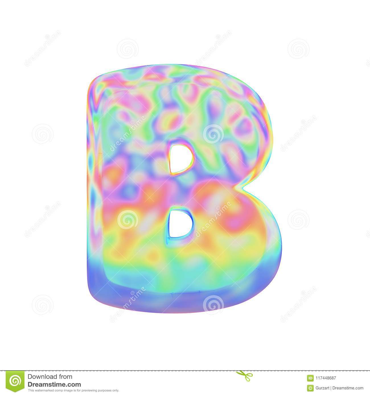 Alphabet Letter B Uppercase Funny Font Made Of Colorful Soap Bubble