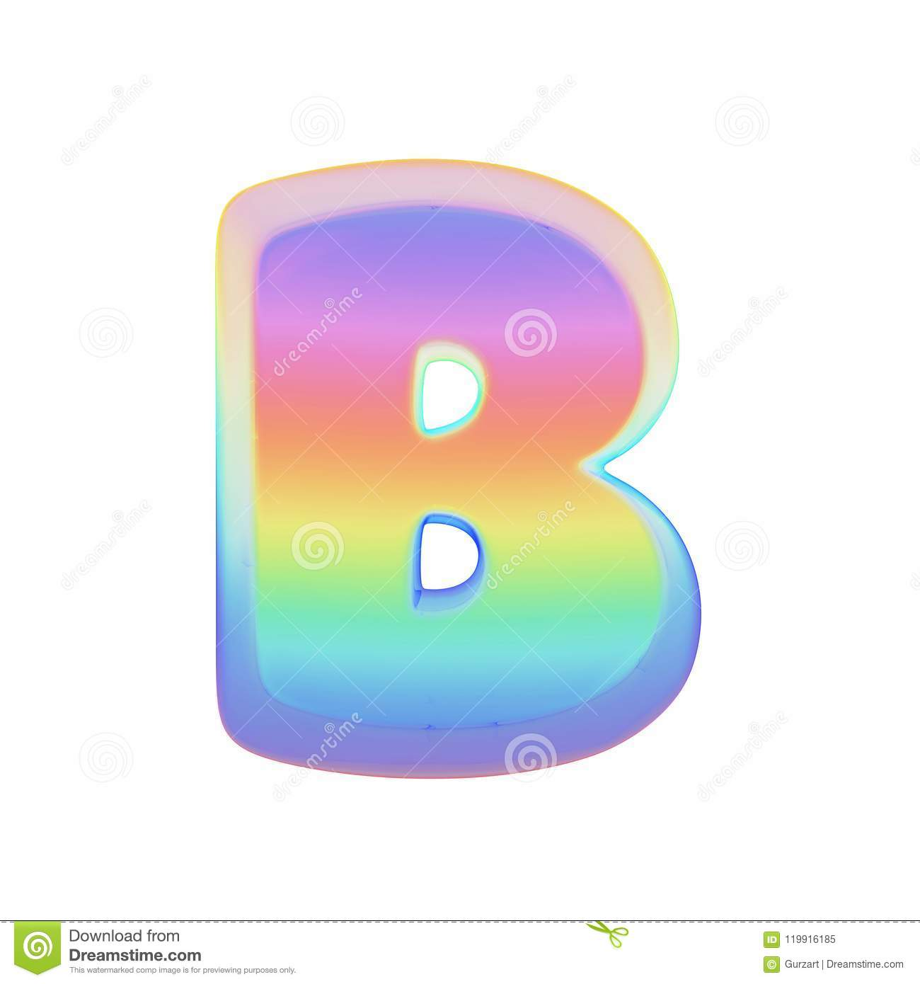 Alphabet Letter B Uppercase Rainbow Font Made Of Bright Soap Bubble